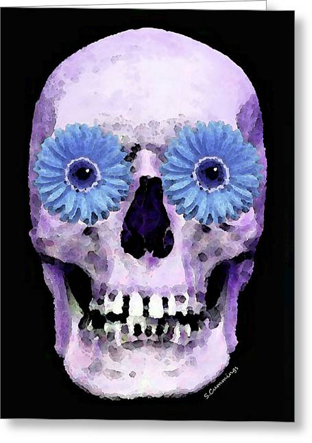 Creepy Digital Art Greeting Cards - Skull Art - Day Of The Dead 3 Greeting Card by Sharon Cummings