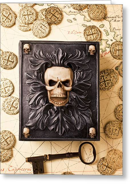 Skull Box With Skeleton Key Greeting Card by Garry Gay