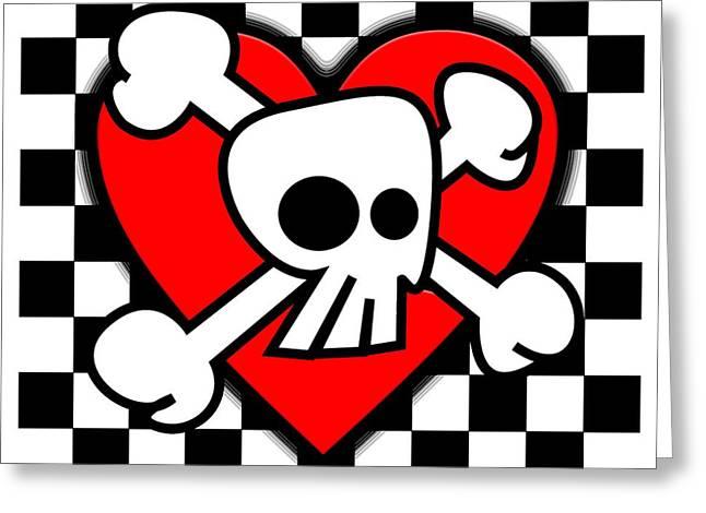 Emo Greeting Cards - Skull Checker Heart Greeting Card by Roseanne Jones
