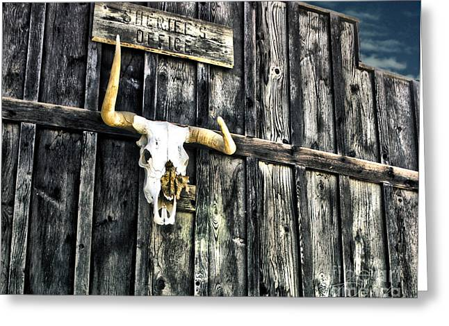 Old West Towns In California Greeting Cards - Skull Greeting Card by Danuta Bennett
