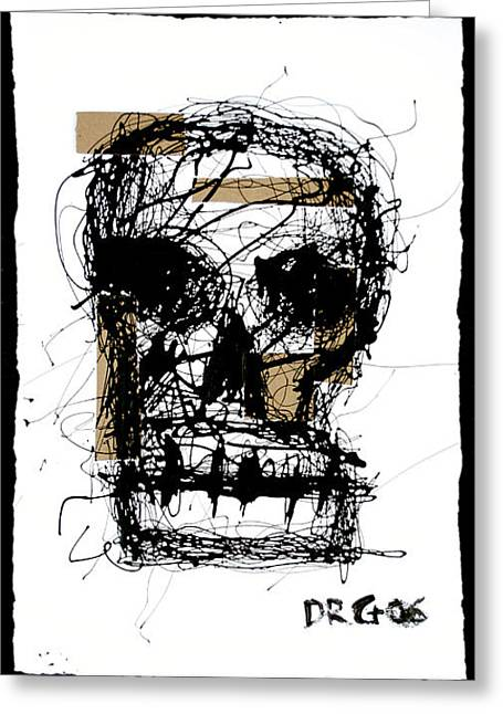 Smear Drawings Greeting Cards - Skull Greeting Card by Dmitry Gubin
