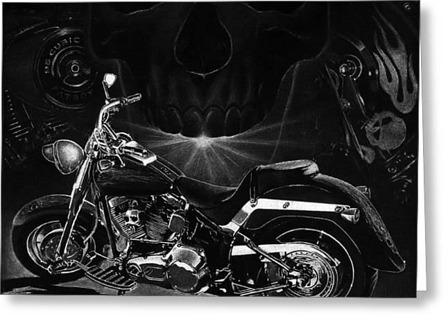 Skull Harley Greeting Card by Tim Dangaran