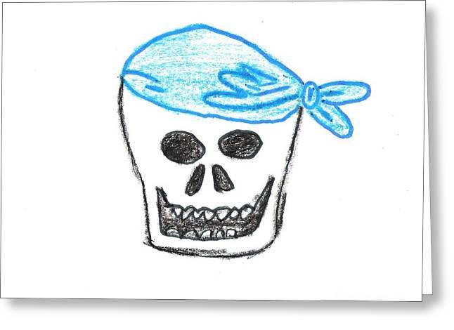 Jordan Drawing Drawings Greeting Cards - Skull in Blue Bandanna Greeting Card by Jeannie Atwater Jordan Allen