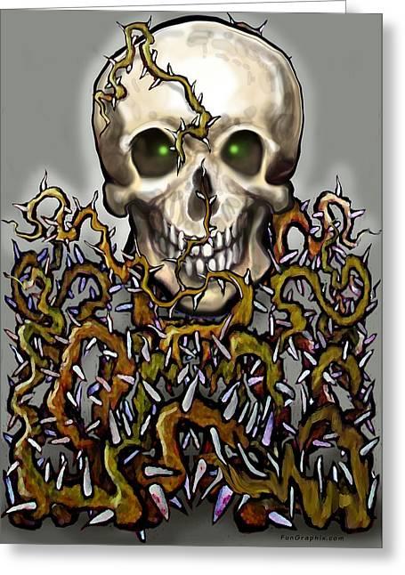 Alternative Skull Greeting Cards - Skull n Thorns Greeting Card by Kevin Middleton