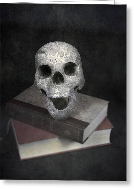 Skull On Books Greeting Card by Joana Kruse