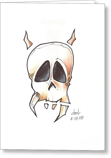 Tattoo Flash Drawings Greeting Cards - Skull with Horns Greeting Card by David Mel