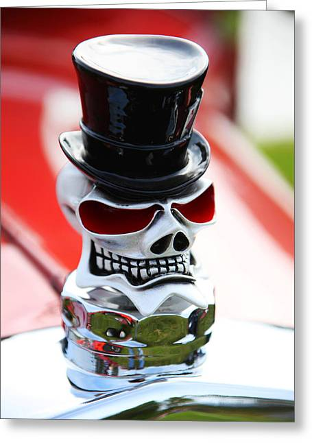 Skull Photographs Greeting Cards - Skull with top hat hood ornament Greeting Card by Garry Gay