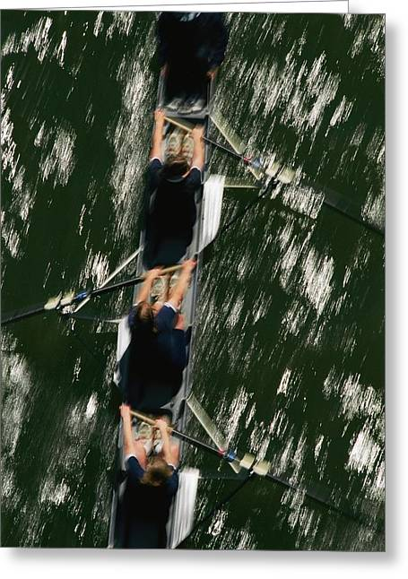Skullers On The Potomac River In D.c Greeting Card by Brian Gordon Green