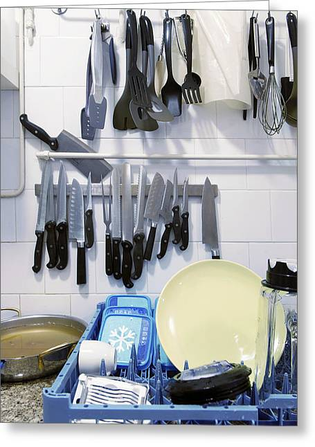 Drying Rack Greeting Cards - Skullery With Dishes In A Rack Plumbing Greeting Card by Corepics