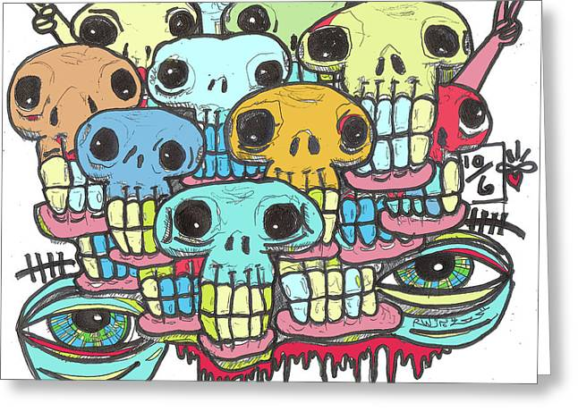 Raw Contemporary Graffiti Greeting Cards - Skullz Greeting Card by Robert Wolverton Jr