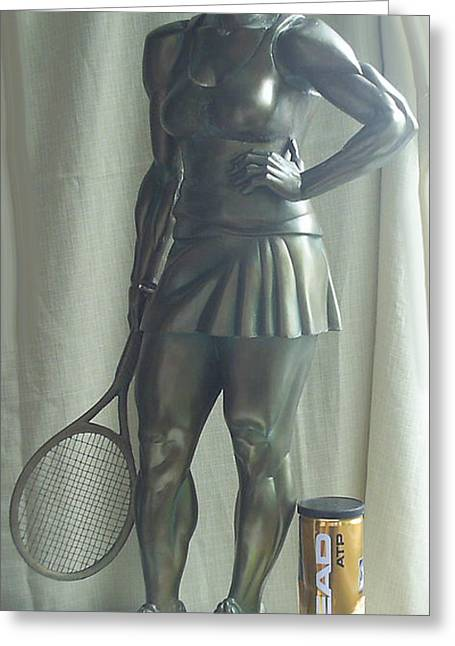 Sport Sculptures Greeting Cards - Skupture Tennis Player Greeting Card by Zlatan Stoilov