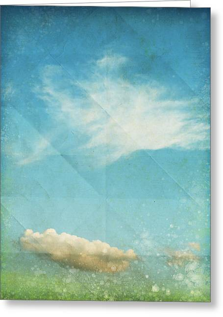 Border Mixed Media Greeting Cards - Sky And Cloud On Old Grunge Paper Greeting Card by Setsiri Silapasuwanchai