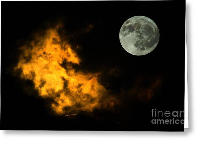 Sky and Moon Greeting Card by Odon Czintos