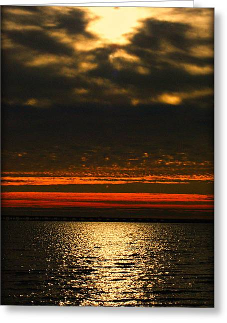 Sky And Water On Fire Greeting Card by John Wright