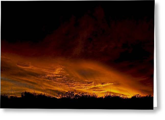 Terlingua Texas Greeting Cards - Sky Fire 2 Greeting Card by Clyde Replogle