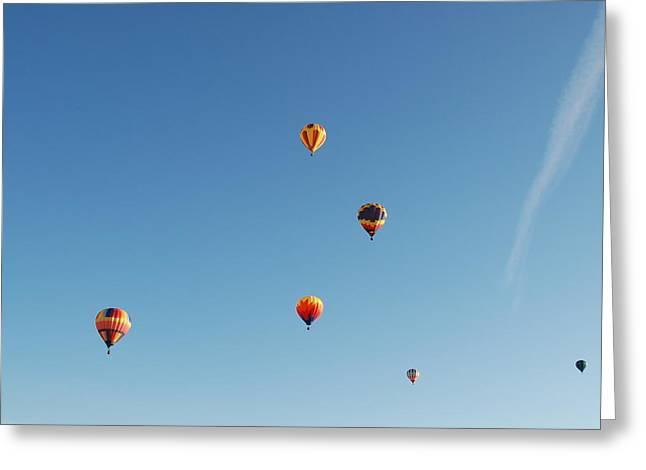 Three Hot Air Balloons Greeting Cards - Sky full of balloons Greeting Card by Linda Larson