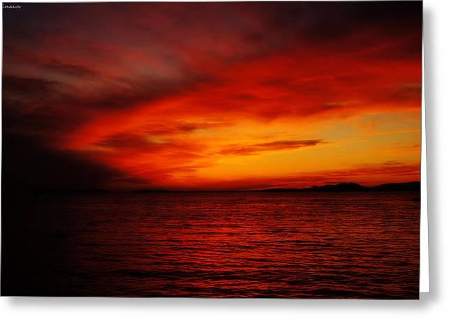 Eavning Greeting Cards - Sky in flames Greeting Card by Yuriy Klimanov