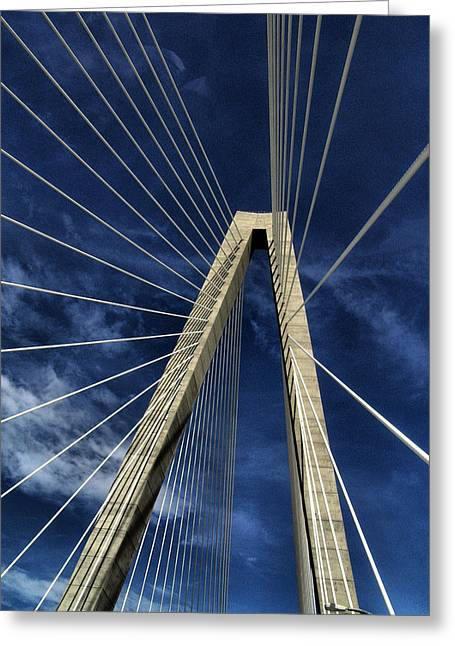 Ravenel Greeting Cards - Sky Lines of Arthur Ravenel Jr Bridge Greeting Card by Dustin K Ryan