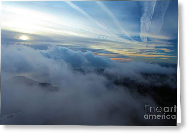 Crater Lake Sunset Greeting Cards - Sky Painting Greeting Card by Adam Jewell