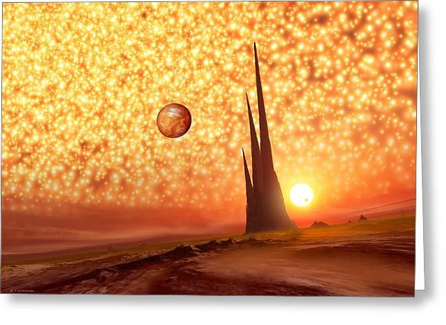 Extrasolar Planet Greeting Cards - Sky Seen From An Alien World, Artwork Greeting Card by Detlev Van Ravenswaay