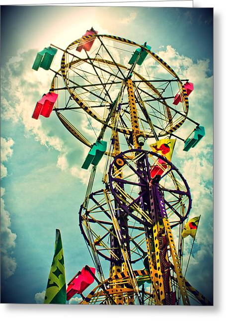 Surreal Ferris Wheel Greeting Cards - Sky Wheel Carnival Ride Greeting Card by Eye Shutter To Think Prints