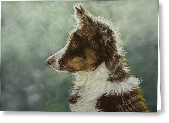Puppies Pastels Greeting Cards - Skye Greeting Card by Lorraine McFarland