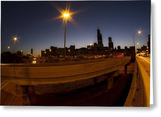 Spaghetti Greeting Cards - Skyline and interchange at dawn Greeting Card by Sven Brogren