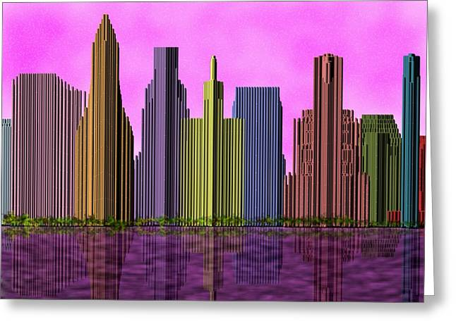Live Art Greeting Cards - Skyline at Pink Sundown Greeting Card by Yury Malkov