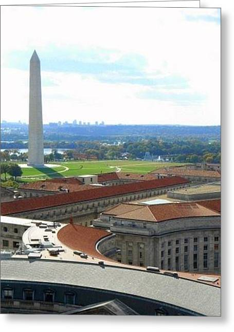 Repaired Drawings Greeting Cards - Skyline of DC  Greeting Card by Anjali Sarkar