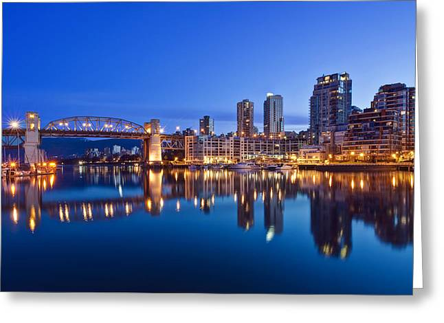 Man Made Space Greeting Cards - Skyline Reflected In False Creek. The Greeting Card by Rob Tilley