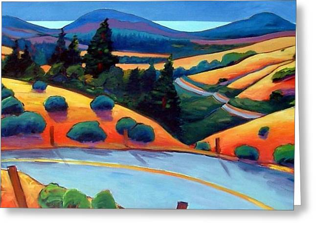 Roads Paintings Greeting Cards - Skyline to the Sea Greeting Card by Gary Coleman