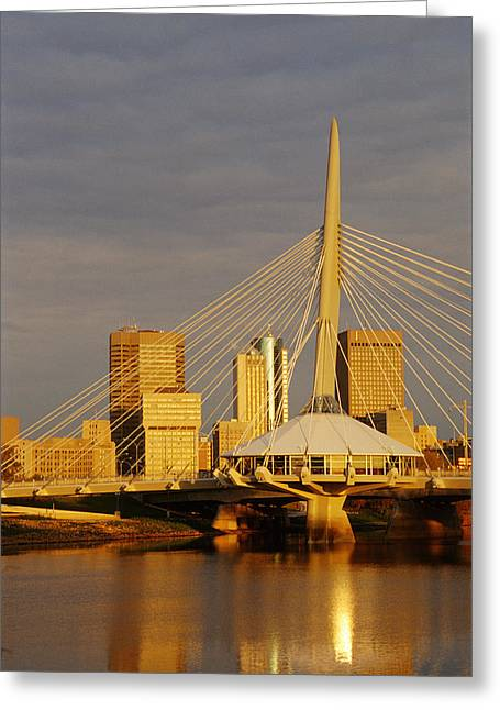 Esplanade Outdoors Greeting Cards - Skyline With Esplande Riel, Winnipeg Greeting Card by Dave Reede