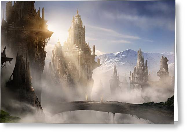 Concept Digital Art Greeting Cards - Skyrim Fantasy Ruins Greeting Card by Alex Ruiz