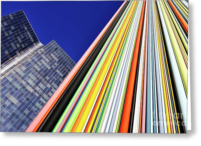 Domination Greeting Cards - Skyscraper and multi coloured stripes Greeting Card by Sami Sarkis