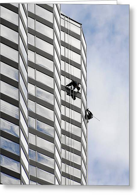 Job Greeting Cards - Skyscraper Window-Washers - Take a walk in the clouds Greeting Card by Christine Till