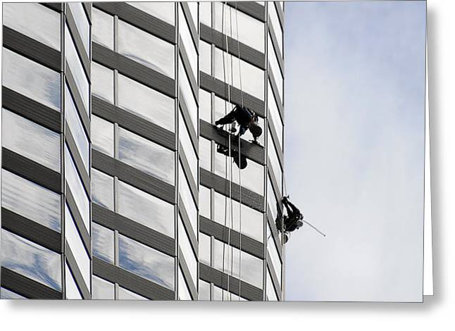 Skyscraper Window-Washers - Take a walk in the clouds Greeting Card by Christine Till