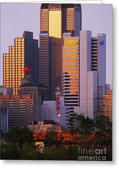 Office Space Photographs Greeting Cards - Skyscrapers in Downtown Dallas Greeting Card by Jeremy Woodhouse
