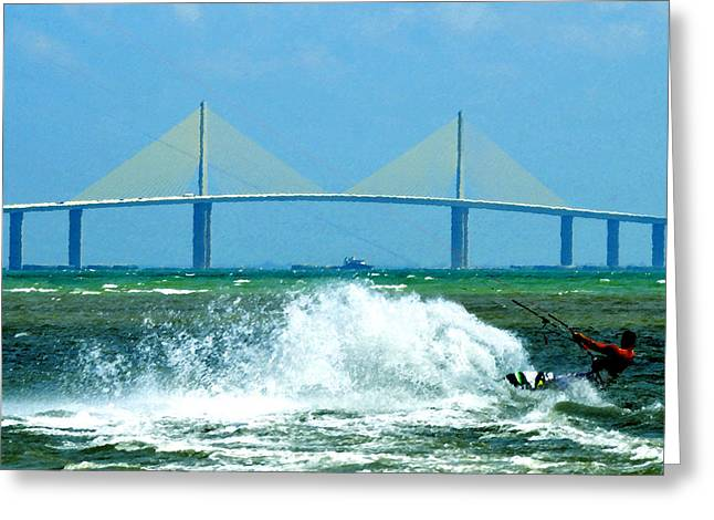 Kite Surfing Greeting Cards - Skyway Splash Greeting Card by David Lee Thompson