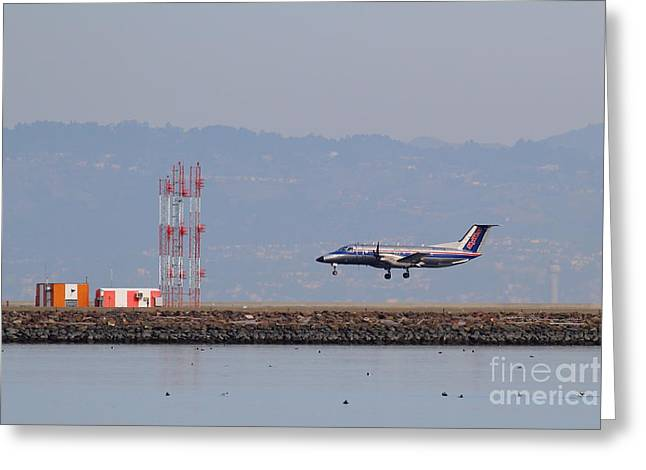 Airplane Landing Greeting Cards - Skywest Airlines Jet Airplane At San Francisco International Airport SFO . 7D12127 Greeting Card by Wingsdomain Art and Photography