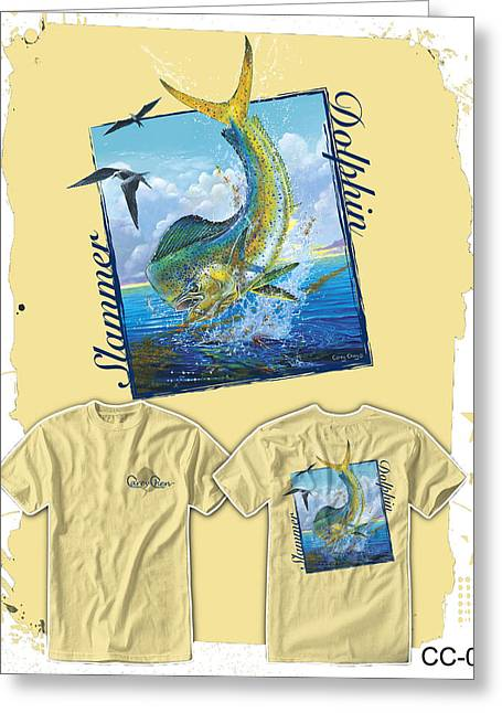 Ganders Greeting Cards - Slammer Dolphin Greeting Card by Carey Chen