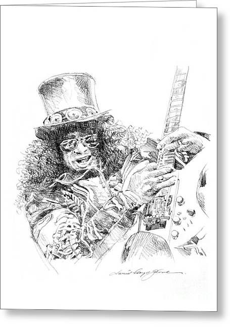 Rock Icon Greeting Cards - Slash Greeting Card by David Lloyd Glover