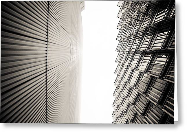 Runnycustard Greeting Cards - Slatted window architecture Greeting Card by Lenny Carter