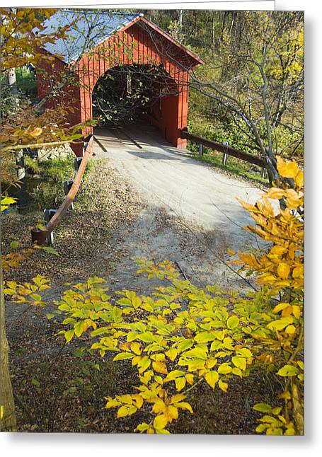 Rural Ways Of Life Greeting Cards - Slaughter House Bridge And Fall Colors Greeting Card by James Forte