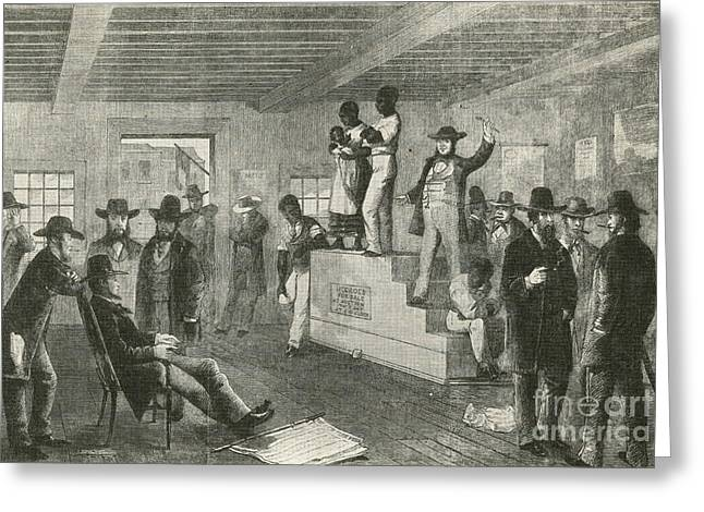 Slave Owner Greeting Cards - Slave Auction, 1861 Greeting Card by Photo Researchers