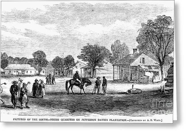 Farmers Field Greeting Cards - Slave Quarters, 1866 Greeting Card by Granger