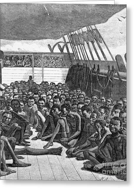 Slaves Greeting Cards - Slave Ship Greeting Card by Photo Researchers