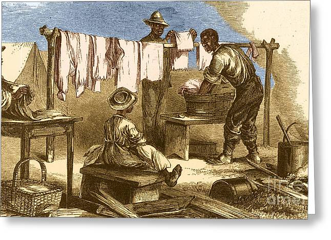 African American History Greeting Cards - Slaves In Union Camp Greeting Card by Photo Researchers