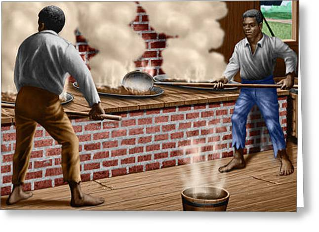 Slaves refining Sugar Cane jamaica train historical old south americana life  Greeting Card by Walt Curlee