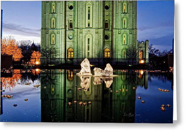 Salt Lake City Temple Photography Greeting Cards - SLC Temple Nativity Greeting Card by La Rae  Roberts