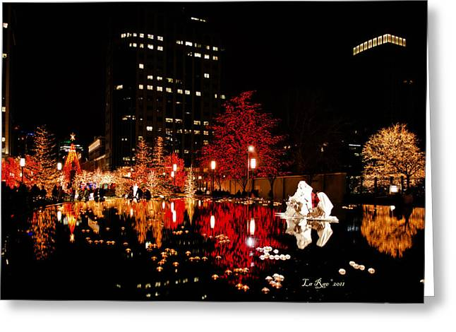 Utah Temple Photography Greeting Cards - SLC Temple Nativity Pond Greeting Card by La Rae  Roberts